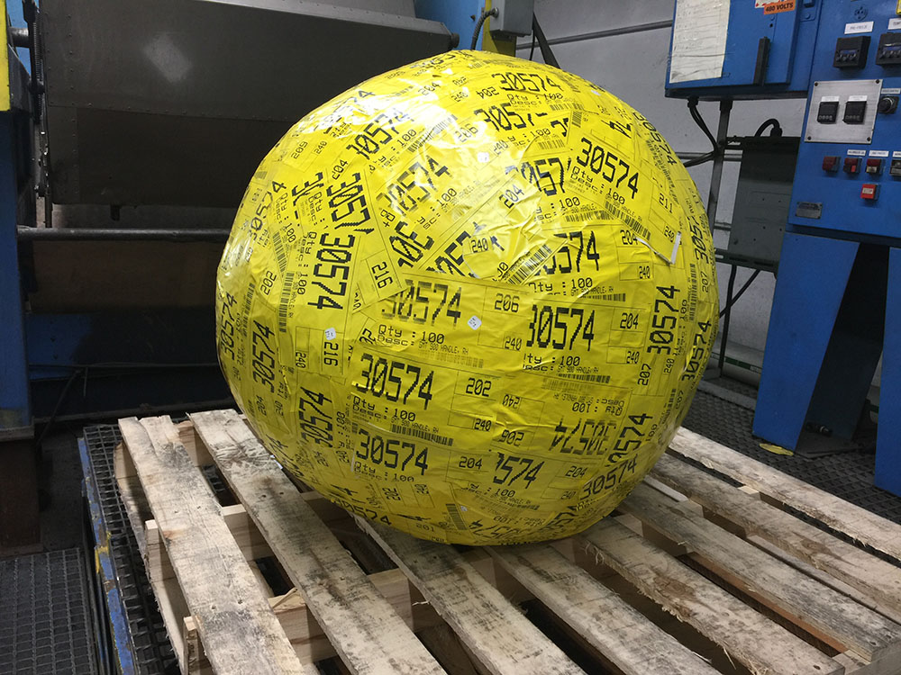 World's Largest Label Ball | Cryogenic Deflashing Service, Supply & Equipment | Polyblast | Abrasive Supply Company - Minerva, OH